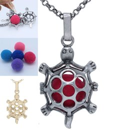 Wholesale Tortoise Charm Gold - Womens Charms Hollow Tortoise Animal Locket Cage Fragrance Aromatherapy Essential Oil Diffuser Openable Pendant Chain Necklace Jewelry