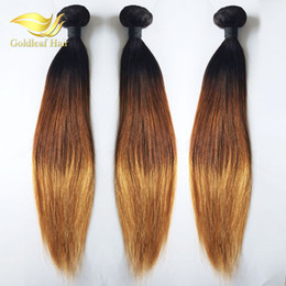 Wholesale Remy 27 Piece Hair - Wholesale Malaysian Hair Extensions Peruvian Straight Ombre Hair 3Pcs 1B 4 27 Three Tone Color Malaysian Indian Hair Weave