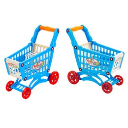 Wholesale Mini Supermarket Cart - Wholesale- Classic Toys Kids Simulate Supermarket Shopping Cart Pretend Play Toys Children Mini Plastic Trolley Play Toy Kid Christmas Gift