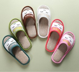 Wholesale Linen Cotton Fabric Wholesale - Wholesale cartoon smile face lovely design adult female men non-slip home shoes lovers linen flat indoor flip-flops slippers 100 pairs lot