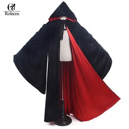 Wholesale witch cape black - Rolecos 2017 New Arrival Black Hooded Cloak Cape Witch Cosplay Costume Unisex Halloween Costume For Men And Women
