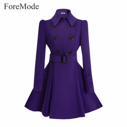 Wholesale Woman Double Breasted Dress Coat - Wholesale- ForeMode Winter Belt Buckle Mid-Long Trench Double-breasted Women Dress Long SleeveTrench Wool Coat