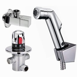 Wholesale Taps Handheld Shower - Free shipping Thermostatic Bidet Faucets Mixers Taps abs handheld shower Shower Holder Shower Hose angle valve bidet tap hand sprayer BD198
