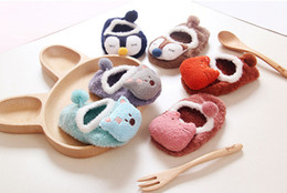 Wholesale Doll Socks Wholesale - 2016 New Baby fether yarn non-slip cartoon Room Socks Toddlers Fuzzy Yarn anti-slip Slippers baby 3D doll socks