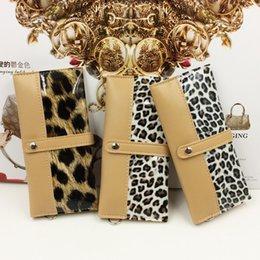 Wholesale Leopard Hair Clutch - PU Leather With Animal Hair Designer Women Long Wallet Leopard Pattern Carteras Female Clutch Bag Coin Purse Wallet Card Holder Handbag