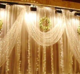 Wholesale 8m Light Curtain - 8M x 4M 300 LED Wedding Light icicle Christmas Light LED String Fairy Light Bulb Garland Birthday Party Garden Curtain Decor