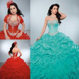 Wholesale Detachable Quinceanera Dress Gown - Tiered Ruffles Rhinestones Detachable Quinceanera Dresses Beaded Sweetheart Masquerad Ball Gowns Organza Debutante Dress With Jacket