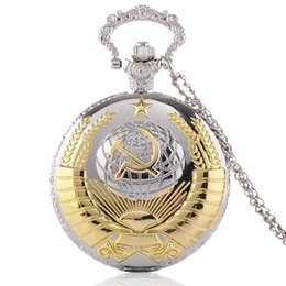Wholesale Russia Antique - Vintage USSR Emblem Russia Soviet Sickle Hammer Quartz Pocket Watch Analog Pendant Necklace Mens Womens Watches Gifts