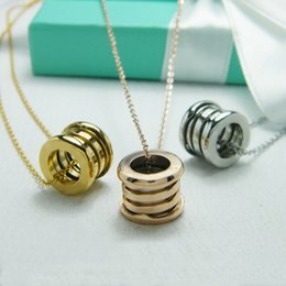 Wholesale Titanium Necklace Chain Women - Fashion Compression Titanium Stainless Steel Elastic Multiwall Pendants Necklaces,Yellow gold Rose gold Silver Metal Colors Women  Men Chain