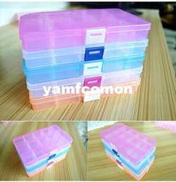 Wholesale Wholesale Home Organization Containers - Plastic Clear Storage Box with Adjustable 15 Compartment For Jewelry Earring Tool Container Home Storage & Organization