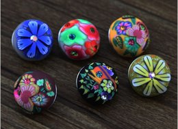Wholesale Porcelain Beads Flowers - Fimo Peach Color DIY 18mm Metal Noosa Bracelet Strap Snap Buttongift Bracelets chunks snap button jewelry