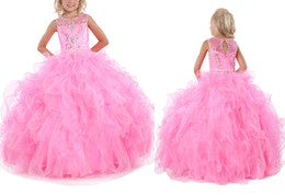 Wholesale Rounded Neckline Wedding - Fashion Cute Little Girl Pageant Dresses Round Neckline Flower Girl for Wedding Princess Crystal Beads Back Hollow Kids Party Dance Dresses