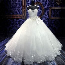 Wholesale Bandage Wedding Ball Gown - 2017 High Quality Real Photoes Bling Bling Crystal Wedding Dresses Back Bandage Tulle Appliques Floor-Length Ball Gown Wedding Gowns