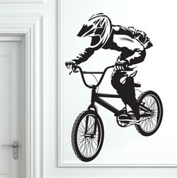 Wholesale Bmx Kids Bikes - A022 BMX Bike Bicycle Boys vinyl wall sticker Decal Bedroom Art Decor Home living room Background wall decoration mural 45*70  58*90