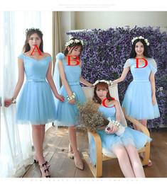 2019 vestidos griegos rojos Diseño simple 4 diferentes estilos de Junior dama de honor vestidos de tul con encaje hasta la rodilla hasta la rodilla vestidos de fiesta de baile de fin de curso