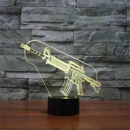 Wholesale Ak47 Lamp - Hot 3D Acrylic Colorful USB Nightlight Creative Children's AK47 Sniper Rifle Christmas Gift LED Table Lamp-3D-TD167