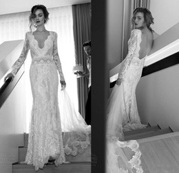 Wholesale Plunging Neckline Mermaid Wedding Dresses - Unique Lihi Hod Bohemian Beach Wedding Dresses Lace 2016 Sexy Vintage Plunging V Necklines Long Sleeves Backless Sweep Train Bridal Gowns