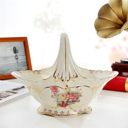 Wholesale Flower Basket Designs - Porcelain fruit basket ivory porcelain flowers design outline in gold fruit basket European luxury fruit basket home furnishings luxury gift