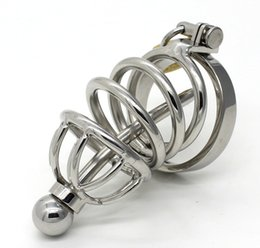 Wholesale Bdsm Tube Urethral Sounding - Stainless Steel Male Chastity Device Adult Cock Cage With Removable Urethral Tube Catheter BDSM Fetish Sex Toys Penis Lock