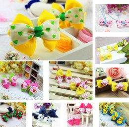 Wholesale Cute Hair Bands For Girls - Hot Selling Free Shipping Cute Mix Color Ribbon Elastic Hair bands Ponytail Holder Bowknot Hair Tie For Children Baby Girl Hair Accessories