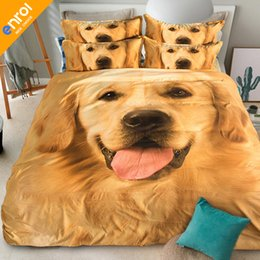 Wholesale Tiger Animal Comforters - 3D Animals Dogs Printing Bedding Set 3 4pcs Duvet Cover Set Fitted sheet With Cats Tiger 180x200cm
