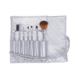 Wholesale portable lip brush - Mini Portable Makeup Brushes Sets 7pcs Cosmetic Brush Foundation Eyeshadow Eyeliner Eye Lip Make up Brush Kits With PU Leather Bag DHL Free