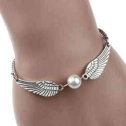 Wholesale Gold Bracelets For Ladies - Wholesale-Best Deal New Silver Imitation Infinity Retro Pearl Angel Wings Jewelry Dove Peace Bracelet for Women Lady Beauty Perfect Gift