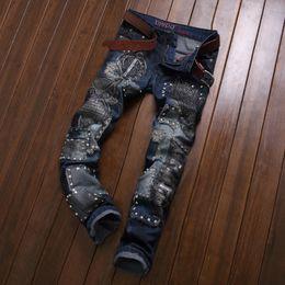 Neue Marke Männer Stretch Denim Slim Jeans Schwarz Blau Mode Trendy Hosen Hosen Größe 33 34 35 36 38 Für Männer Jean von Fabrikanten