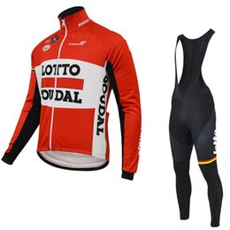 Lotto-team trikots online-WINTER FLEECE THERMAL RADFAHREN LANGE JERSEY ROPA CICLISMO + BIB PANTS 2015 LOTTO SOUDAL PRO TEAM ROT 3D GEL PAD-PICK GRÖSSE: XS-4XL