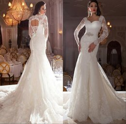 Wholesale Black Sexy Back Open - Fashion Long Sleeve Wedding Gowns 2016 Sexy Lace Applique Sweetheart Bling Beaded Sash Ivory Mermaid Open Back Bridal Dresses Chapel Train