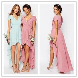Wholesale Bridesmaid Dresses Peach Sleeves - 2017 Chiffon High Low Bridesmaid Dresses Purple Peach V Neck Capped Sleeves Wedding Guest Dress Zipper Back Prom Formal Party Gowns
