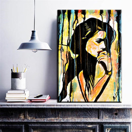 Wholesale Lady Abstract Oil Painting - ZZ692 modern abstract canvas art watercolor women lady canvas pictures oil art painting for livingroom bedroom decoration prints