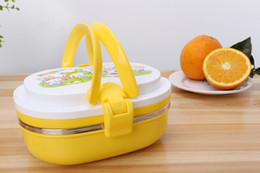 Wholesale Stainless Steel Thermal Lunch Box - Fangle Korea Style Cartoon Printing Stainless Steel Thermal Insulated Oval Lunch Box Bento Picnic Food Storage Container 750ml Free Shopping