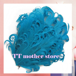 Wholesale Curly Feather Pads Wholesale - Turquoise Solid Curly feather pads free shipping 30pcs lot nagorie feather pads hair accessories Free shipping P007