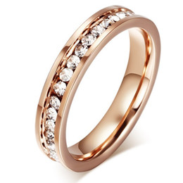 Wholesale Asian Wedding Rings Online - Exquisite Thin Band Rings Luxury Rose Gold Womens Band Rings Cubic Zirconia Wedding Band Rings for Bridal Online