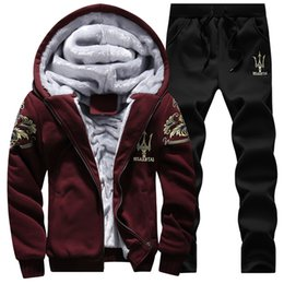 Wholesale Sport Track Suit Hoodie - Wholesale-Tracksuit Men Sport Joggers Jogging Track Suit Thick Velvet Hoodies Winter Man Sweatshirt Coat Set Sudaderas Hombre 2016 #D73