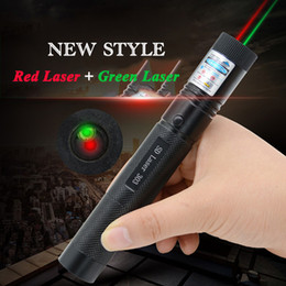 Wholesale Laser Green Pointer Battery - Waterproof Double Laser 5mw 532nm Hybrid Red Green Laser 303 Pointer Pen Lazer Visiable Beam 18650 Battery Free Shipping