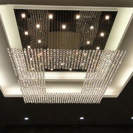 Wholesale Modern Crystal Chandelier Square - new square modern string big crystal chandeliers hotel lobby chandelier lighting free shipping