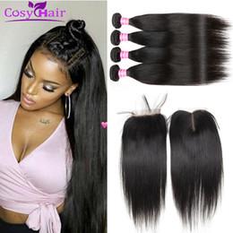 Wholesale Striaght Brazilian Hair - Wholesale Brazilian Virgin Hair Striaght Human Hair Wefts Bundles With 4x4 Lace Closure Unprocessed Extensions Weave Bundles