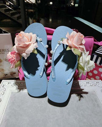 Wholesale Pink Rose Sandals Flower - 2017 new fashion pine cake bottom grass slope slope sandals shoes beach vacation high heels handmade rose flowers bride bridesmaid wedding s