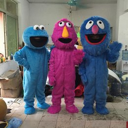 Wholesale Elmo S Costume - 2017 Hot Sesame Street mascot costume Elmo cookie monster Grover cookie monster cartoon costume with high Quality Factory direct sale