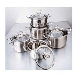 Wholesale Stainless Steel Cookware Sets - Cookware Set Family Stock Pots Tirclad Bottom Quality 201 Stainless Steel 14 16 18 20 22 24cm Stock Pots Glass Cover