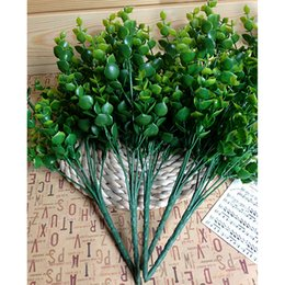Wholesale- Hot New Green 7-Branches Artificial Fake Floral Plastic Eucalyptus Plant Flowers Cafe Office Home Room Hotel Table Decor от