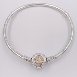 Wholesale signature white - Authentic 925 Sterling Silver Beads Moments Two Tone Bracelet With P Signature Clasp Fits European Pandora Style Jewelry Charms 590741CZ