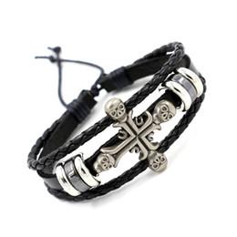 Wholesale Gothic Handmade Leather Bracelets - Punk Gothic Skulls Cross Infinity Bracelets Vintage Handmade Braided Leather Charm Bracelets Hip Hop Band Wristband For Men Women Jewelry