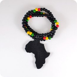 Wholesale Good Wood Africa - 20pc Good Wood NYC X Chase Infinite Black Africa Map Wooden Beads Necklace Hip Hop Fashion Jewelry