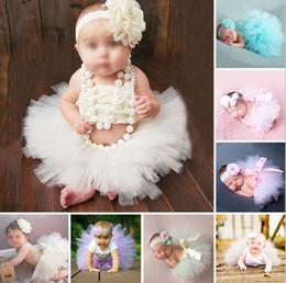 Wholesale Newborn Blouse - Newborn Baby Photo Props Tutu Dress Infant Photography Costume Tutu Skirt With Headware 2pcs set Baby Photography Props Baby Girl Dress 942