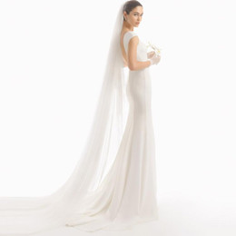 Wholesale Custom Metal Cutting - Soft Ivory Long Wedding Veils With Cathedral Length Train Wedding Veil With Metal Comb 108 Inch Long Bridal Veils Custom Length
