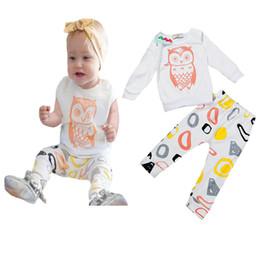 Wholesale owl baby pants - 2016 Kids Cartoon Owl short long sleeved T-shirt Tops+Geometric Pants 2pcs Set Baby Casual pajamas Outfits Babiy Suits E1026
