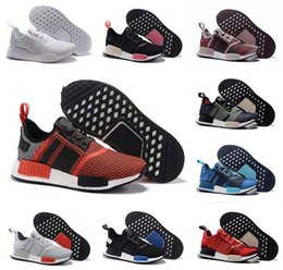 Wholesale Tri Color Mens Leather Shoes - 2017 NMD Runner R1 boost PK mesh Monochrome Salmon Talc Cream Olive Triple Black Tri-Color Mens Womens Running Shoes NMD Sneakers US 5-11